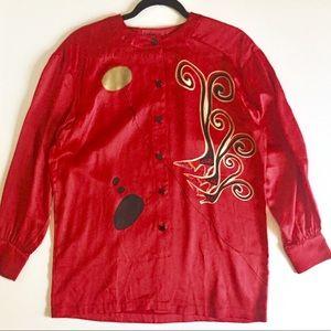 Escada Luxury Red Silk Satin Blouse Vintage 14